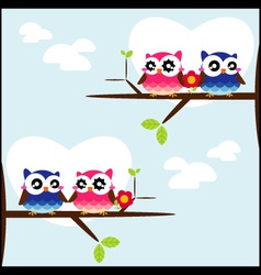 Couples of owls sitting on branches vector image