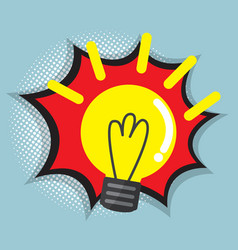 abstract bulb idea with comic book pop art vector image
