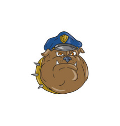 Bulldog policeman head cartoon vector