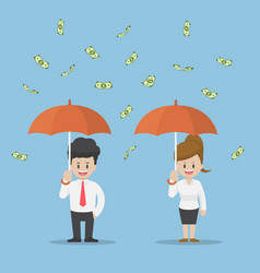 Businessman holding umbrella under the rain money vector