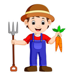 cartoon young farmer holding rake vector image