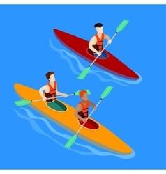 Couple Paddling in Kayak Kayak Isolated Isometric vector image vector image