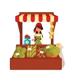 Farmer woman sells vegetables in bulk vector