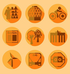 Flat berlin icons with shadow vector