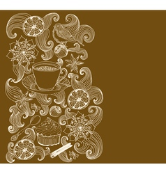 floral card with tea cup vector image vector image