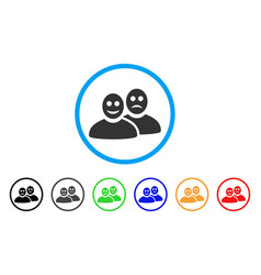 Glad and sad people rounded icon vector
