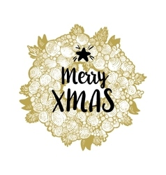 Golden wreath and Merry Xmas vector image vector image