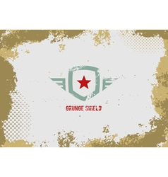 Grunge shield design element on grunge background vector