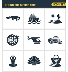 Icons set premium quality of round the world trip vector image