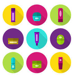 Lip balm tubes and jars flat icon set vector