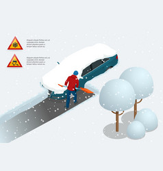 man with shovel cleaning snow filled backyard vector image vector image