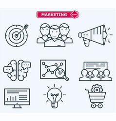 marketing flat line icons training development vector image vector image