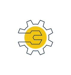 Mechanics engineering logo concept wrench and gear vector