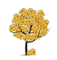 Modern cheese tree on white vector