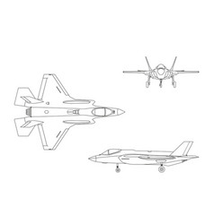 outline drawing of military aircraft vector image vector image