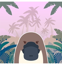 Platypus on the jungle background vector