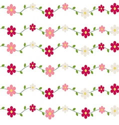 Seamless pattern flowers and leaves vector
