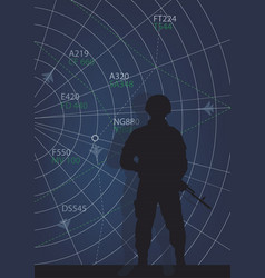 Serviceman and the information panel of operations vector