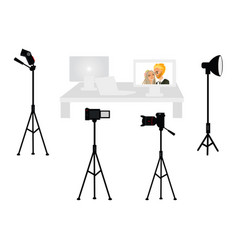 set of professional photo studio equipment vector image vector image