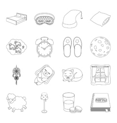 Sleep and rest set icons in outline style big vector