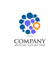 social media chat bubble logo vector image vector image