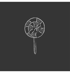 Spiral lollipop Drawn in chalk icon vector image
