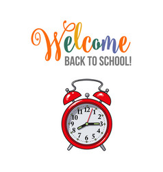 Welcome back to school poster design with red vector