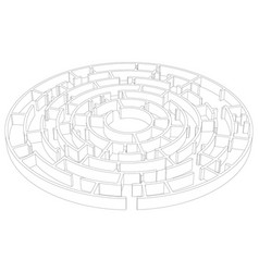 Wire-frame round tangled maze vector