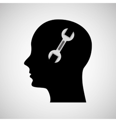 Head silhouette black icon wrench tool vector