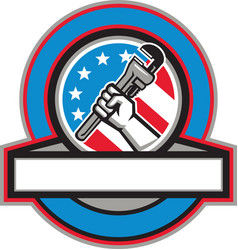 Plumber hand pipe wrench usa flag circle vector