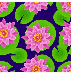 Dark background seamless pattern with lotus vector