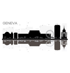Geneva city skyline black and white silhouette vector
