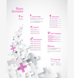 Creative pink color cv resume template vector