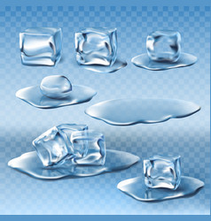 set of wet melting ice cubes and water vector image