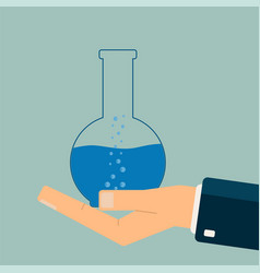 hand holding test tube biology science vector image
