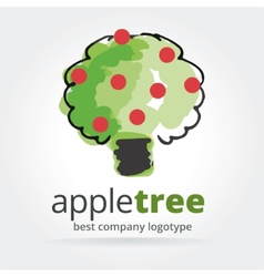 Abstract apple tree logotype isolated on white vector
