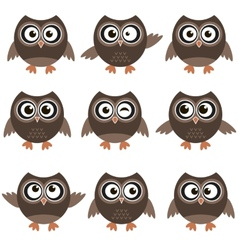 Cute owls with various emotions vector