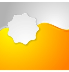 Bright orange waves and white label sticker vector
