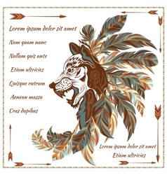 Envelope in ethnic style image of the wolf with vector