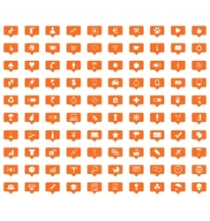 Universal orange message icons set vector