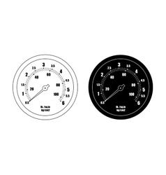 Pressure gauge bar icon contour silhouette vector