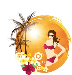 Palm beach girl vector