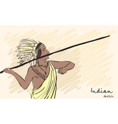 Apache indian warrior throwing a spear corporate vector