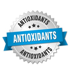 Antioxidants 3d silver badge with blue ribbon vector