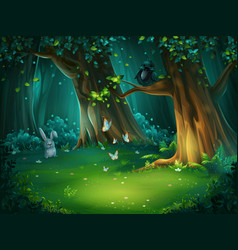 a forest glade with hare vector image