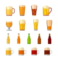 Beer icons in flat style vector image