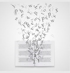 Book with flying letters vector