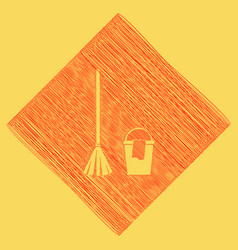Broom and bucket sign red scribble icon vector