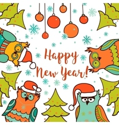 Christmas card with cartoon owl vector image