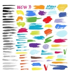 Color brush stroke set vector